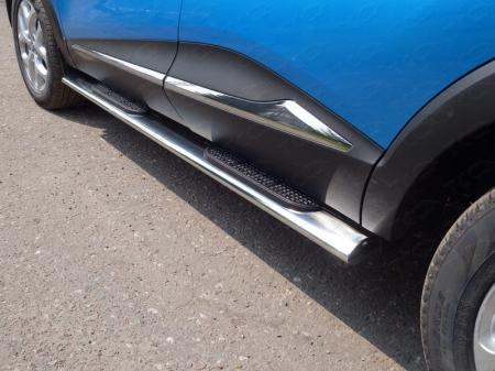 Renault Kaptur 2016- Пороги овальные с накладкой 120х60 мм